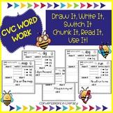 CVC Words Word Work Worksheets Draw It Write It Switch It | Distance Learning