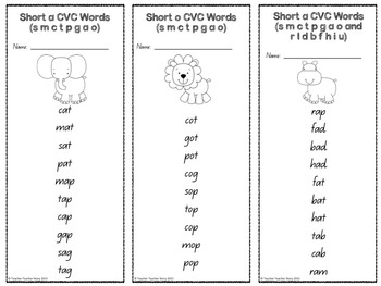 CVC Word Work Cards K-1 Black and White