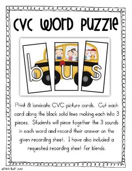 CVC Word Work Choice {Literacy Centers}
