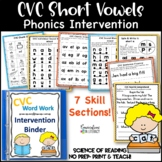 Reading Intervention Binder CVC Word Work Intervention Binder