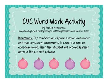 CVC Word Work Ornament Style