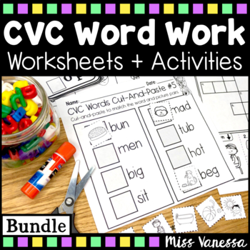 CVC Word Work ~ Beginning, Middle & Ending Sounds Practice ~ B&W Worksheets