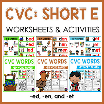 CVC Worksheets and Activities: Short E Word Work
