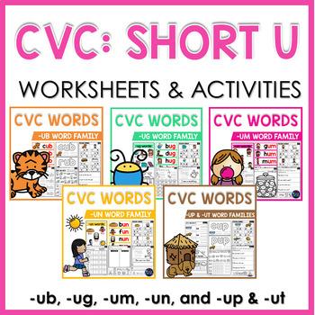 CVC Worksheets and Activities: Short U Word Work