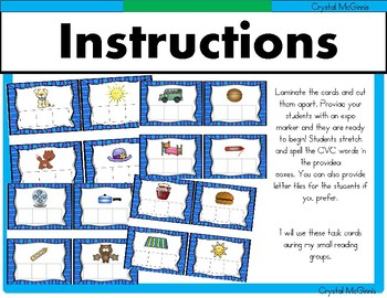 CVC Word Work (Small Reading Group Literacy Activity) 32 Build It Cards