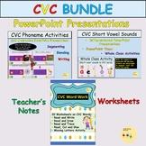 CVC Words and Medial Vowels Presentations and Worksheets BUNDLE -US