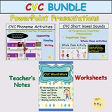 CVC Word Work and Medial Vowels Presentations and Workshee