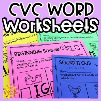 Cvc Word Worksheets Beginning Middle Ending Sounds Sound It Out
