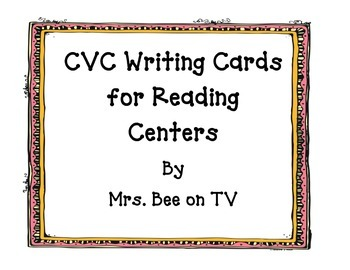 CVC Word Writing Cards for Reading Centers