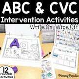 CVC Word and Alphabet Intervention Activities: Write On Wipe Off
