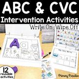CVC Word and Alphabet Intervention Activities: Write On Wipe Off