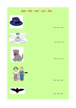 CVC Word and matching picture worksheet