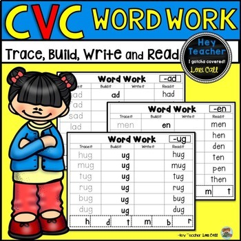 CVC Word Work Activity: Trace, Build, Write, and Read Short Vowels