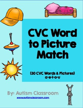 CVC Word to Picture Match by Autism Classroom
