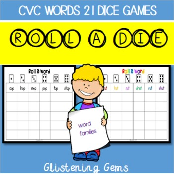 Literacy Center Games CVC Roll and Write