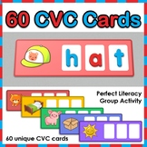 CVC Words - 60 Word Building Cards for use with magnetic letters, markers, etc