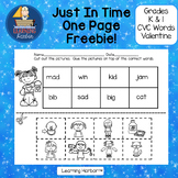 CVC Words A and I Valentine's Day Just in Time One Page Freebie