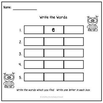 Short 'e' Vowel CVC Words Activity