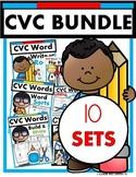 CVC Words BUNDLE! 10 CVC Sets  (puzzles, printables, games, literacy stations)