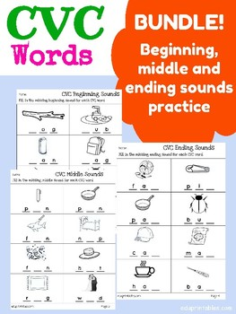 CVC Words - Beginning, Middle and Ending Sounds Practice BUNDLE