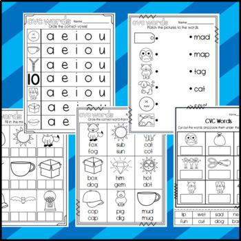 CVC Words- Beginning/Middle/Ending Sounds: Sorts, Worksheets, Puzzle, Bingo