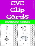 CVC Words - Beginning Sounds Clip Cards - includes 29 word families