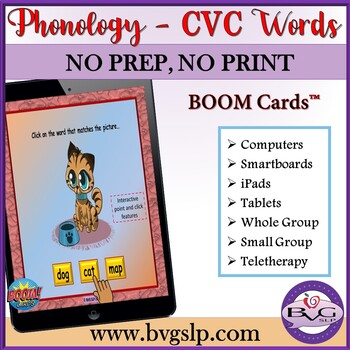 CVC Words Beginning and Ending Sounds BOOM CARDS - Teletherapy