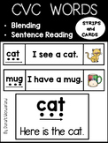 CVC Words Blending and Sentence Reading Strips and Cards