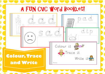 CVC Words Booklet Color it, Trace it, Write it
