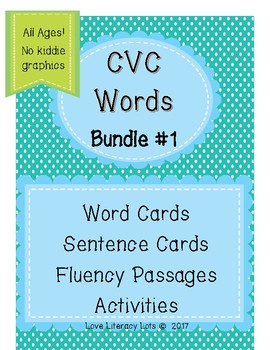 CVC Words Bundle 1.1-1.3 Aligned- With NO  Diagraphs  (No Kiddie Graphics)