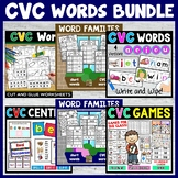 CVC Words | Word Families | Worksheets Games and Center Activities | BUNDLE