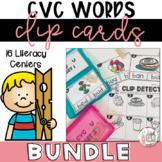 CVC Words   CVC Activity Bundle   Clip Card Literacy Centers