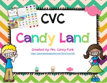 CVC Words Candy Land  blending Short Vowel Word families Game