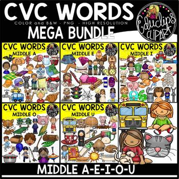 CVC Words Clip Art Mega Bundle {Educlips Clipart}