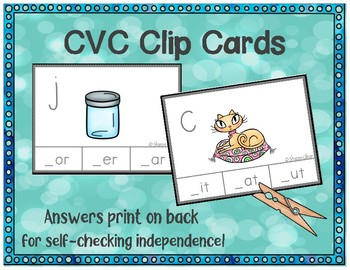 CVC Words Self-Checking Clip Cards