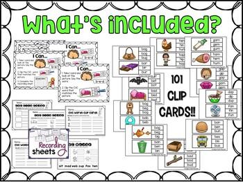 CVC Words Clip Card - Literacy Center