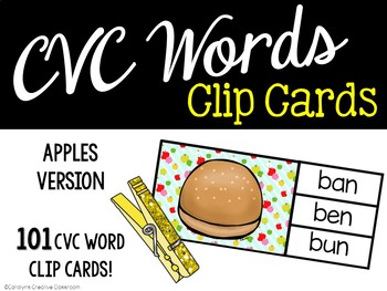 CVC Words Clip Cards - Apples/ Johnny Appleseed Theme