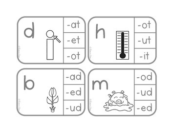 CVC Words Clip Cards B & W - Free Sample