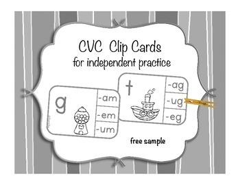 CVC Words Clip Cards B & W - Free Sample