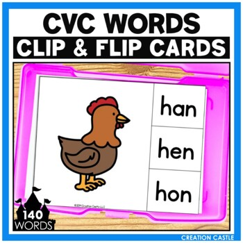 CVC Words Clip Cards Center