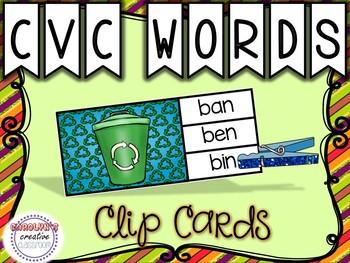CVC Words Clip Cards - Earth Day Theme