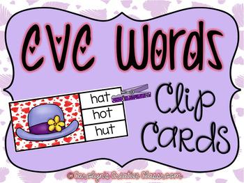 CVC Words Clip Cards - February Edition