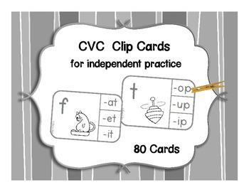 CVC Words Clip Cards black-line
