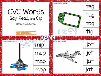 CVC Words Clip It Cards - Clothespin Center