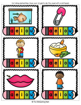 CVC Words Clip and Write Center with Assessment Worksheet