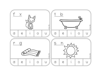 CVC Words Clip the Vowel - B&W clip cards for independent practice