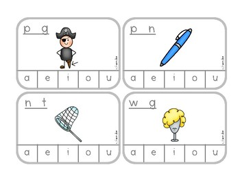 CVC Words Clip the Vowel - clip cards for independent practice