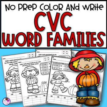 CVC Words Color and Write Fall Themed
