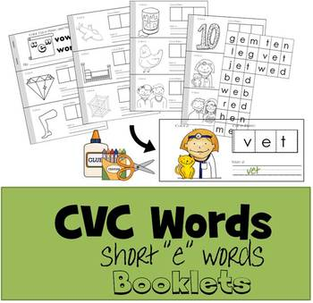 "CVC Words Cut & Paste Booklet - Short ""e"" vowel"