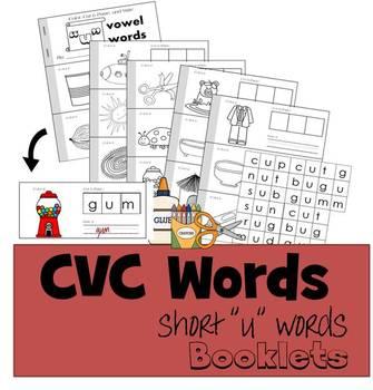 """CVC Words Cut & Paste Booklet - Short """"u"""" vowel"""